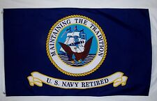 Navy Retired Emblem Flag 3' x 5' Indoor Outdoor Offically Licensed Banner