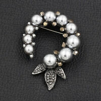 Betsey Johnson Women's Crystal Pearl Round Flower Charm Brooch Pin Jewelry Gift