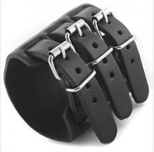 Men's Black Wide Alloy Leather Bracelet 3 Layer Buckle Belt Cuff Wrist Bangle