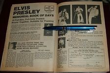 1977 ELVIS PRESLEY MEMORIAL BOOK OF DAYS PRINT AD~DOUBLE PAGE 7 X 10 INCHES