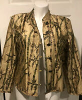 ENTICE   Silk  Beaded Sequined Bamboo print Jacket Sz XL NEW