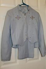 Custom Western Show Jacket and Pants Powder Blue   Ladies Small or XL Youth