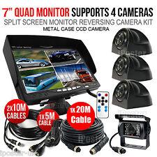 "7"" Quad Monitor 4 Video 12-24V 4Pin 4x IR CCD Reversing Camera For Caravan Truck"