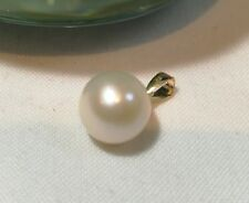 Genuine  9mm circle 4A freshwater pearl in 18K yellow gold pendant