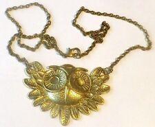 Original collier chaîne pendentif couleur or hibou bijou porte bonheur 3030