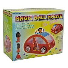 Kids Car Shape Hideaway Peek-A-Boo Colourful Play House Tent with 100 Soft Balls