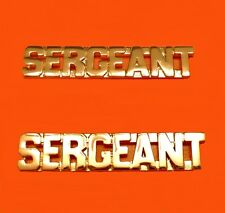 Sergeant Collar Pin Set Cut Out Letters Police Security Officer Rank Gold  2426