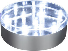 Decor Lites 10.2cm PLATA baselite con 9 LEDS Superbrillantes blanco