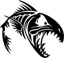 """Fish Skeleton Fishing Hunting Sportsman Decal Sticker- 6"""" Wide White Color"""