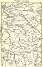 Allier. vichy à paris 1909 old antique vintage carte plan graphique