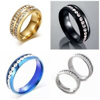 Men Women 8MM Stainless Steel CZ Titanium Ring Band Size 5-13 Engagement Wedding