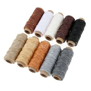 10 Rolls 150D Flat Sew Wax Line Fiber Thread 50m for Leather Sewing 10 ColoUr