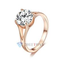 Stylish 18K Gold Plated Use Swarovski Crystal Simulated Diamond Wedding Rings
