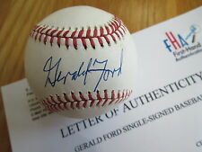 GERALD FORD Signed Official League Baseball -First Hand Authenticated #A-348807