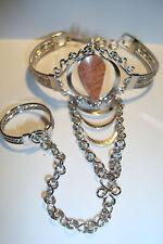 Peruvian Alpaca Silver & Gemstone Slave Bracelet~Orange Jasper~T97~uk seller~