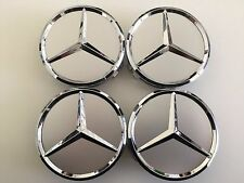 MERCEDES-SET-OF-4-SILVER-CENTER-WHEEL-HUB-CAPS-75MM-COVER-CHROME-EMBLEM-CAP-LOG