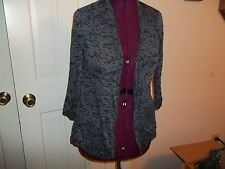 APOSTROPHE LADIES SIZE XS SHEER SWEATER JACKET OVERLAY GRAY TOP OPEN FACE SHIRT