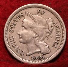 1881 Philadelphia Mint Nickel Three Cent Coin