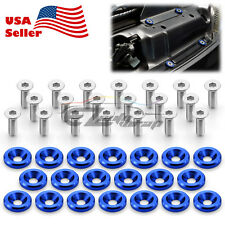 20pcs Blue Billet Aluminum Fender Bumper Washer Bolt Engine Bay Screw Kit JDM