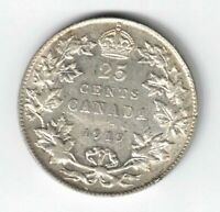 CANADA 1919 TWENTY FIVE CENTS QUARTER GEORGE V STERLING SILVER COIN SCRATCHES