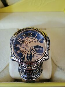 Invicta Collectors 50mm Artist Skull Case Automatic Skeletonized Dial Gold Watch
