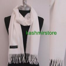 New 100% CASHMERE SCARF MADE IN SCOTLAND SOLID White SUPER SOFT UNISEX