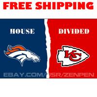 Denver Broncos vs Kansas City Chiefs House Divided Flag Banner 3x5 ft 2019 NEW