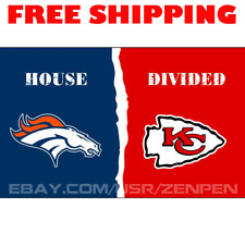 Denver Broncos vs Kansas City Chiefs House Divided Flag Banner 3x5 ft 2019 NEW