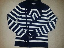 GAP Womens Thick Knit Cotton Blend Moto Zip Jacket Navy/White Striped  Sz.XS