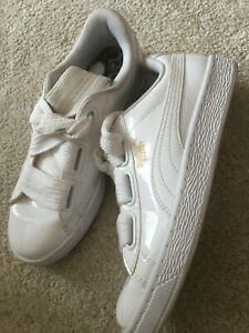 Excellent Puma Basket White patent leather ladies trainers size 5