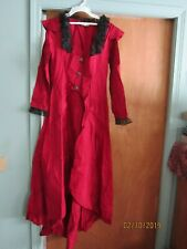 Victorian Choice Dress Dark red Gothic Costume Vintage Silky Renaissance size S