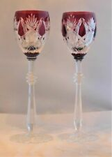 6 Exquisite Ruby Red Cut to Clear Wine Glasses Faberge Czar Imperial 10 5/8 ""