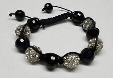 Women Classy Bracelet Black & Silver Crystal Stones Ball Beaded Braided Rope Men