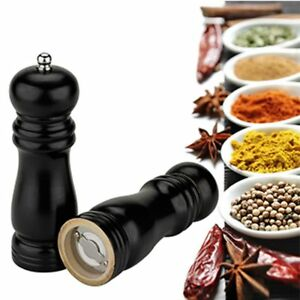 1x Home Kitchen Classical Wood Pepper Spice Salt Mill Grinder Muller Tool Black