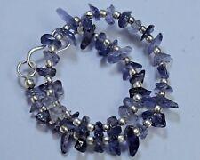 "N-2458 Iolite Natural Gemstone Uncut Chips Plain Loose Beads 23ct 7"" Bracelet $"