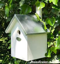BLUE TIT & small birds Nest Box Bird House White chunky wood Tin Roof bird lover
