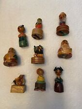 Lot Of 9 Vintage Wooden Figurine Pencil Sharpeners Variety Collection