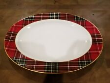 NEW 222 Fifth Wexford Christmas Holiday Plaid Oval Serving Platter New 14x10