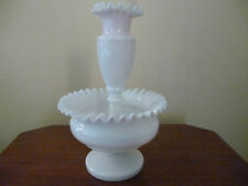 ANTIQUE WHITE MILK GLASS EPERGNE CENTERPIECE VASE 25cm high -very old - vg cond.