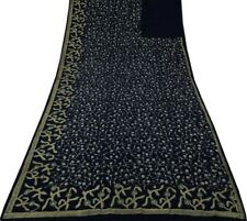 Vintage Indian Saree 100% Pure Silk Hand Beaded Embroidered Sari Fabric Blue