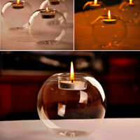 Set of Glass Tea Candle Holders Round Tea Light Holder Wedding Tealight 8/12cm