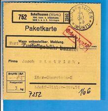 DR  / SCHAFHAUSEN (WÜRTT) 21 OKT 43, Württ.-K1 auf Selbstb.-Vordr.-Paketkarte