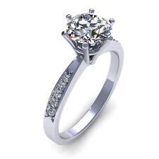 Engagement Ring 14k White Gold Finish 1.50 Ct Round Cut Vvs Moissanite Weding