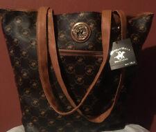 Beverly Hills Polo Club Womens Brown Printed Tote Handbag Purse Large BHFO 8566