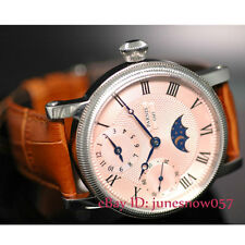 42mm Parnis moon phase display GMT pink dial hand winding movement mens watch 61