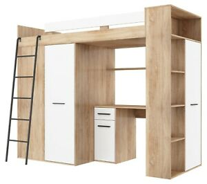 High Sleeper Bunk Bed entresole Verana Left or Right safety white oak colours