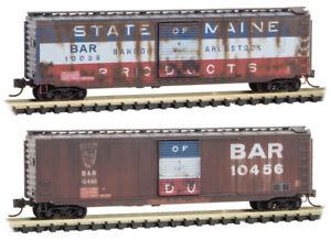 Micro-Trains MTL N-Scale 50' Box Cars Bangor & Aroostook/BAR Weathered 2-Pack