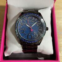 NWT BETSEY JOHNSON BJ00048-274 Blue Dial Crystal Bezel Gunmetal Tone Band Watch