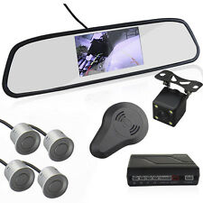 "Car Reverse Rearview 4.3""Mirror Display Monitor+Camera Radar Alarm Silver Sensor"