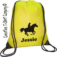 Yellow Personalised Horse - Pony Riding Grooming Kit Drawstring Stable Bag